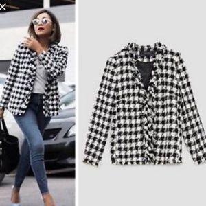 Zara Checked Frayed Jacket